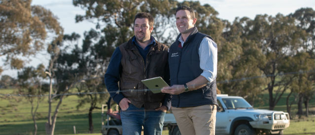 Farmer and Rural staff member using iPad in a paddock.