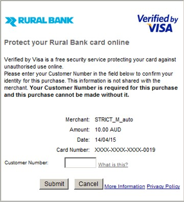 Example of verified by visa screen